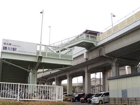高架工事中の勝川駅