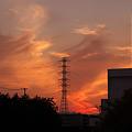 工場脇の夕焼け