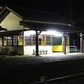 夜の真岡鐵道折本駅