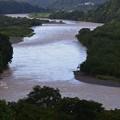 台風一過の相模原市の大島付近の相模川の濁流__6347