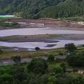 台風一過の相模原市の大島付近の相模川の濁流__6348