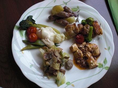 温かい料理の皿