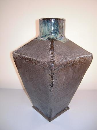 茶流紋釉花器s