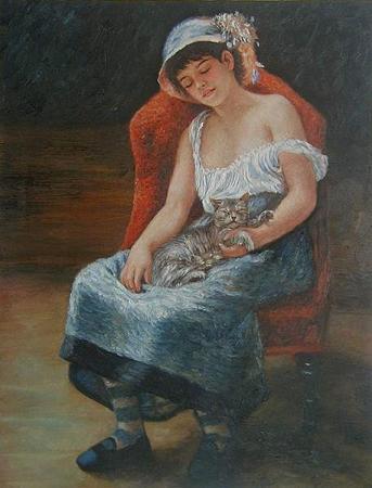ルノワール 「猫と眠る少女」